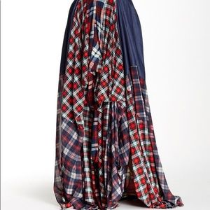 TOV maxi skirt red plaid flannel size 40 S/M